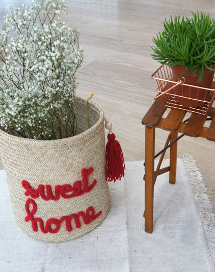 Panière personnalisée sweet home rouge