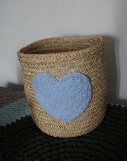 Paniere coeur bleu