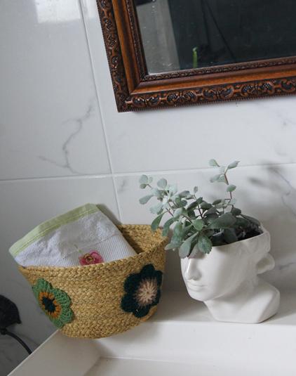 Panière fleurs vertes
