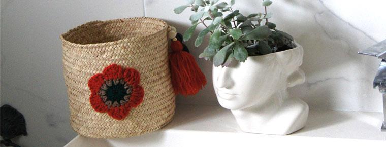 Panniere personnalisée fleurs crochet