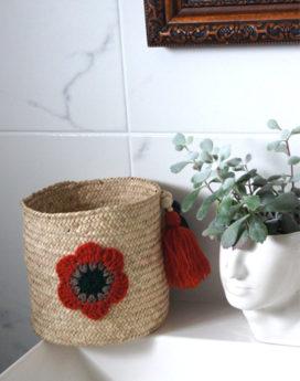 Panière personnalisée fleur crochet rouille