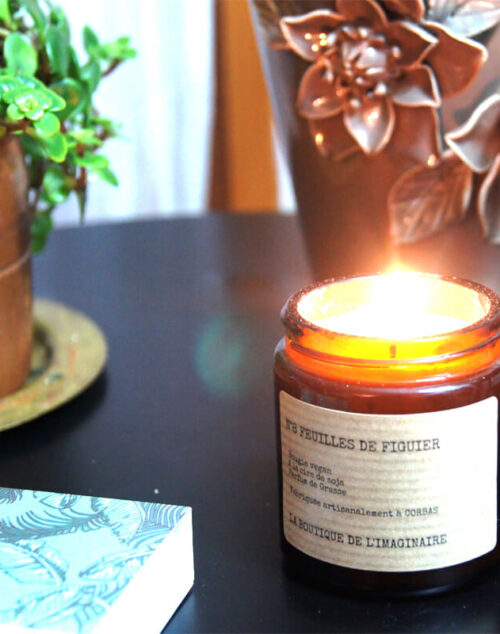 Bougie et bougie parfumée Lyon artisanale feuilles de figuier
