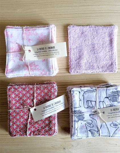 Cotons lavables Lyon coton bio différents motifs