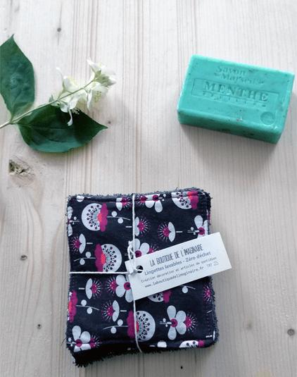 Cotons lavable Lyon lingettes zéro déchet tissu japonais fleuri