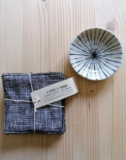Cotons lavable Lyon lingettes zéro déchet tissu japonais rayé