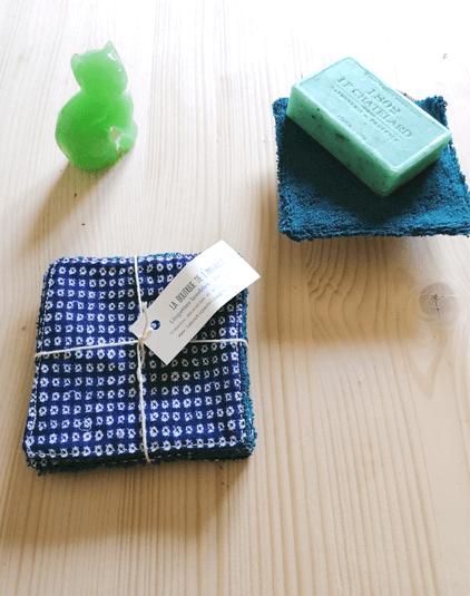 Cotons lavables Lyon lingettes zéro déchet éponge bio bleu