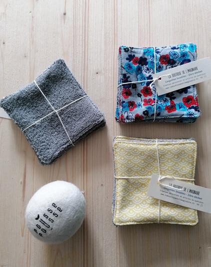 Cotons lavable Lyon lingettes zéro déchet éponge grise