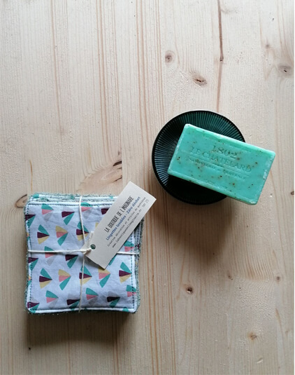 Cotons lavables Lyon lingettes zéro déchet éponge vert émeraude