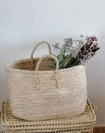 Panier naturel fleurs séchées