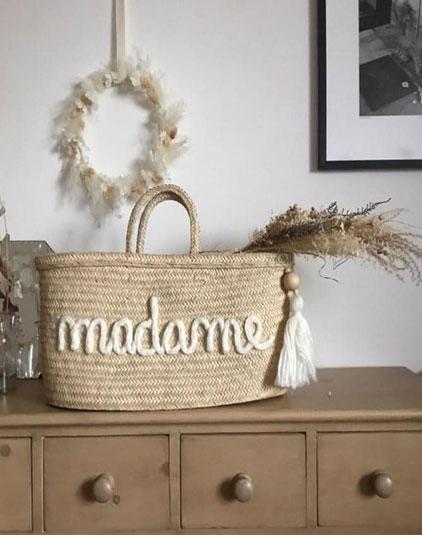 Sac panier lyon madame laine blanche
